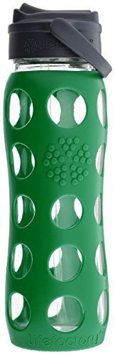 Lifefactory 22-Ounce BPA-Free Glass Water Bottle with Str