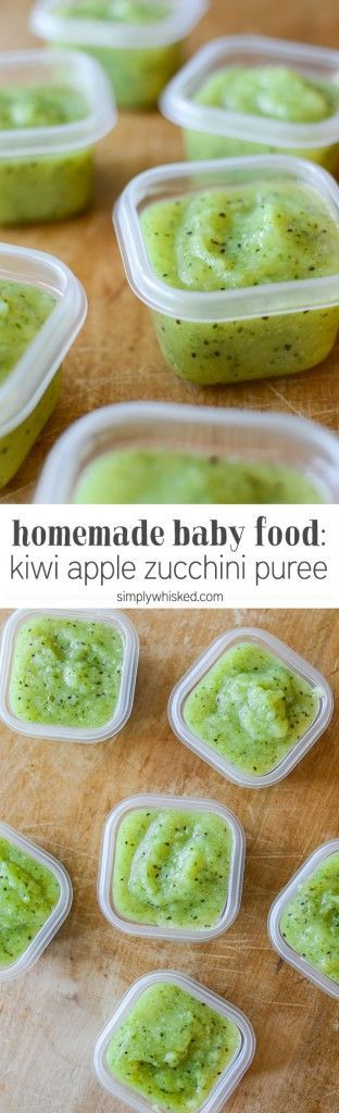Kiwi Apple Zucchini Puree | Homemade Baby Food | simplywhisked.com