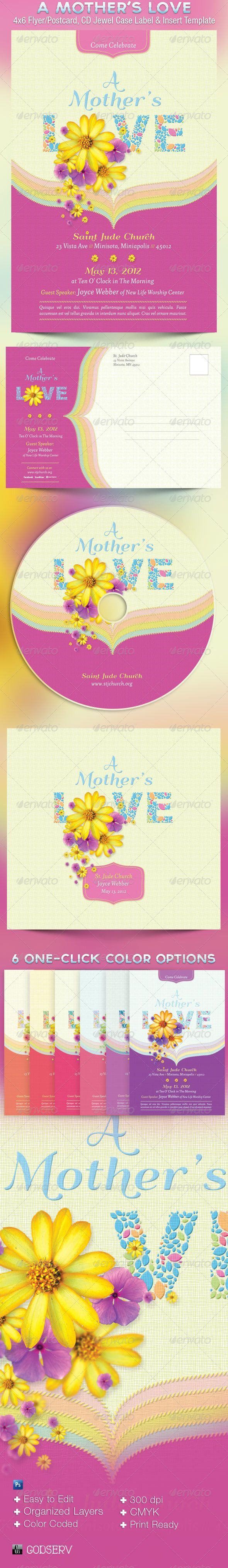 Mothers Love Flyer Postcard CD Template — Photoshop PSD #women #love • Available here → https://graphicriver.net/item/mothers-love-flyer-postcard-cd-template/2206547?ref=pxcr