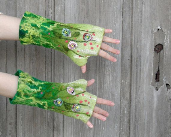 Hand felted long mittens green fingerless gloves arm by filcAlki