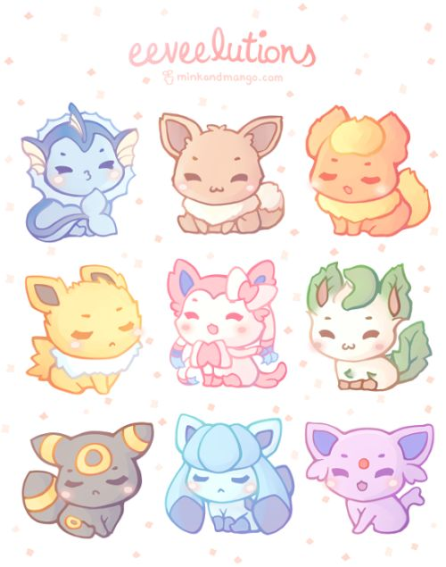 Eeveelutions by mink & mango #pokemon #nintendo #fanart