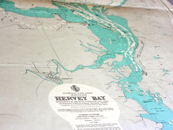 vintage nautical chart of Hervey Bay & Fraser Island, Australia at coastal vintage