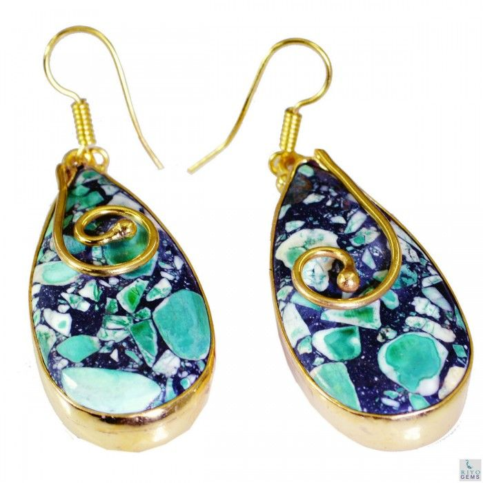 99 best Turquoise Gemstone Earring Gold plated Fashion ...