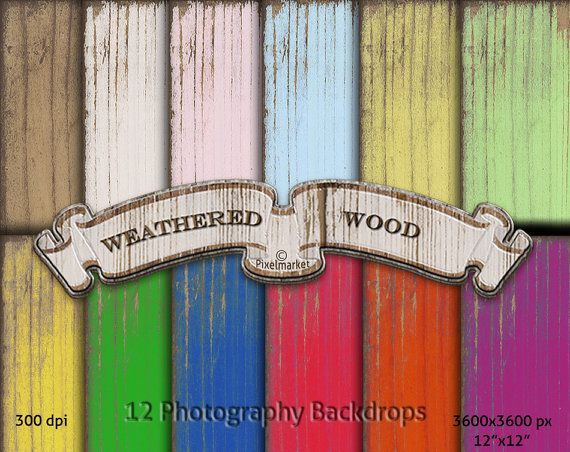 Digital WOOD BACKDROPS Weathered Wood Background by pixelmarket
