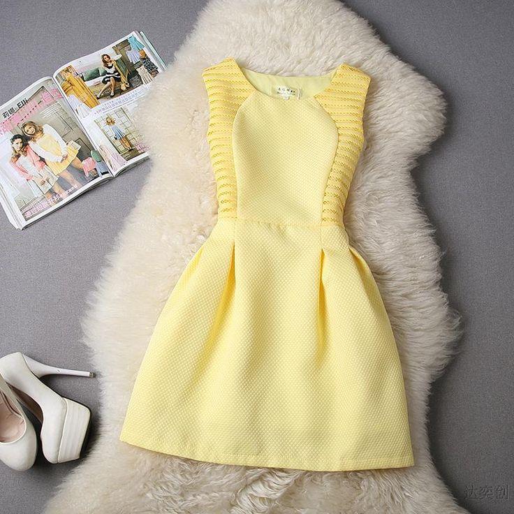 Купить товар2015 новый летний мода женщины о образным вырезом без рукавов свободного покроя мини принцесса платье элегантные вечерние ну вечеринку Vestido черный белый желтый S XL в категории Платьяна AliExpress.                               Азии Размер                                                Бюст