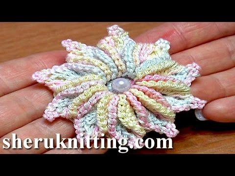 How to Crochet 3D 10-Petal Flower Tutorial 47 Fleur au crochet