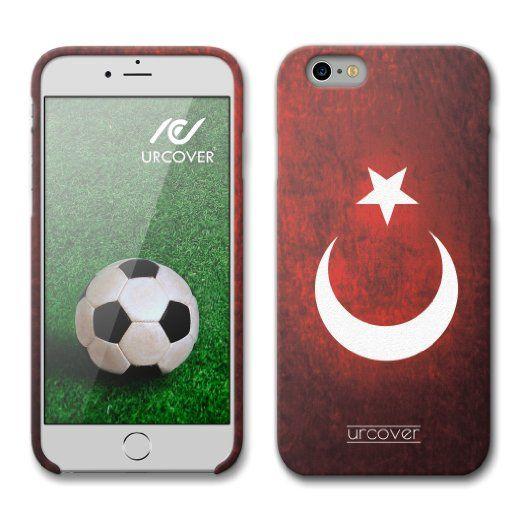 [EM SPEZIAL] Apple iPhone 6 / 6s Fussball Handyhülle mit Staubschutzkappen von original Urcover® in der UEFA EURO 2016 Edition iPhone 6 / 6s Schutzhülle Case Cover Etui Europameisterschaft 2016 Fahne Team Türkei