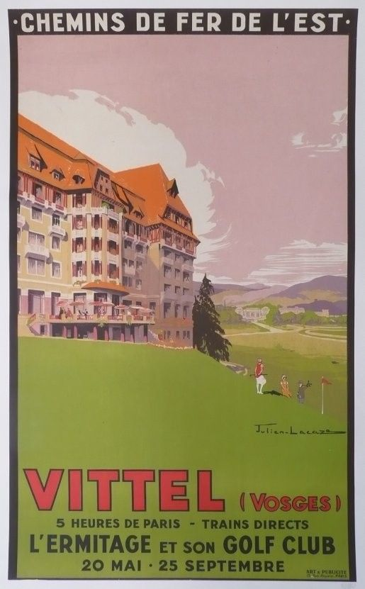 Affiche+originale+Vittel+L'ermitage+Golf++chemin+de+fer+de+l'est++Vosges+-+Julien+LACAZE