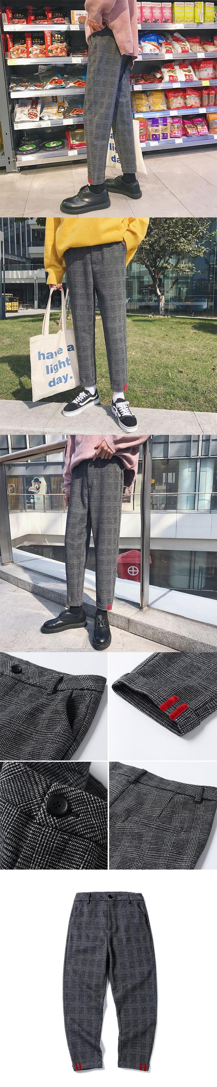 New 2017 Korean Autumn Winter Lattice Leisure Trousers Teenagers Directly Haren Suit Men Pants Loose Fit Casual Pantalon Hombre