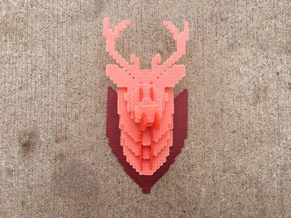 Hirschkopf  3D Perler Perle  3D Sicherung Perle  Puzzle  by Pixelixir | Etsy