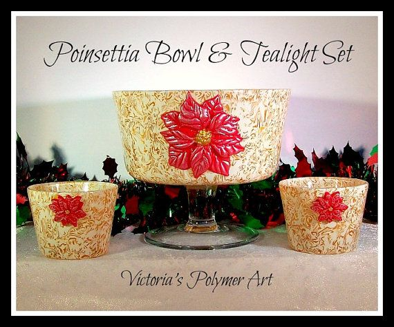 Polymer Clay On Glass Christmas Bowl & by VictoriasPolymerArt, £25.00