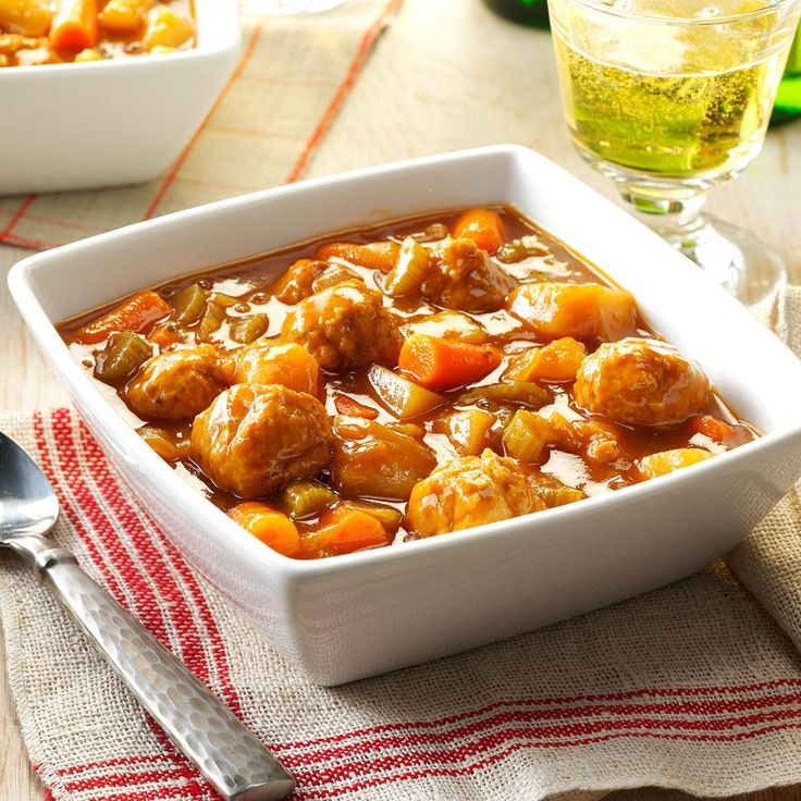 Slow-Cooked Meatball Stew Recipe -I came up with this hearty meal-in-one as another way to use frozen meatballs. It's quick to put together in the morning and ready when my husband gets home in the evening. —Iris Schultz, Miamisburg, Ohio