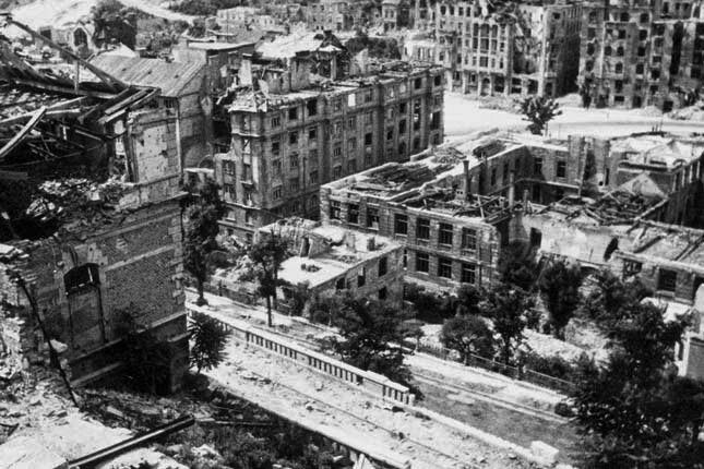 Budapest after the aerial bombardment in the second world war and today Krisztina district