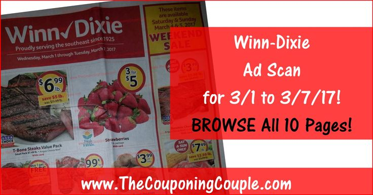 Who is ready to start working on their Winn Dixie Shopping List? Click the Picture below to BROWSE all 10 Pages of the Actual Winn-Dixie Ad Scan for 3/1 to 3/7/17 ► http://www.thecouponingcouple.com/winn-dixie-ad-scan-for-3-1-to-3-7-17/  Want us to Post these EARLY Advanced Ad Scans Every Week? If so leave a comment below and let us know (a SHARE would be appreciated too)!  #Coupons #Couponing #CouponCommunity  Visit us at http://www.thecouponingcouple.com for more g
