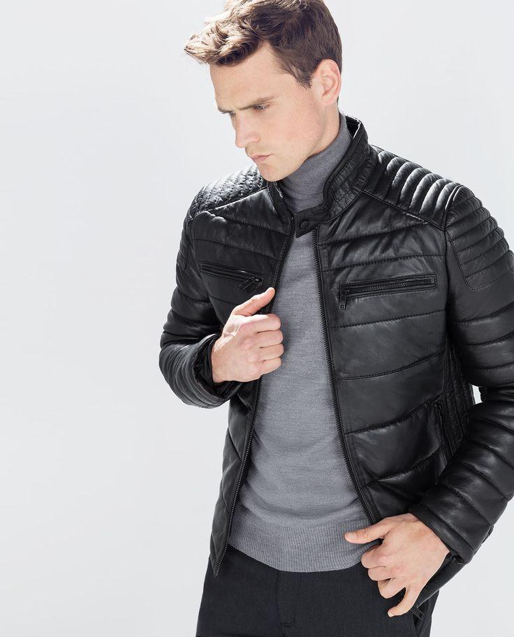 Black jacket - CAZADORA PIEL ACOLCHADA de Zara