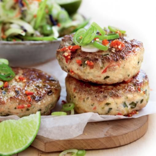 Thai chicken patties with vegie and rice salad