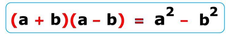 """Identidades notables : suma por diferencias.   Aplicando algunas propiedades básicas de los números, es muy fácil demostrar que: """"suma por diferencia es igual a diferencia de cuadrados"""". Es decir, que el resultado de multiplicar la suma de dos números por su diferencia es el mismo que si restamos los cuadrados de ambos números. Llamando a esos números """"a"""" y """"b"""", una demostración sería:  (a + b) (a - b) = a a - a b + b a - b b = a2 - b2"""