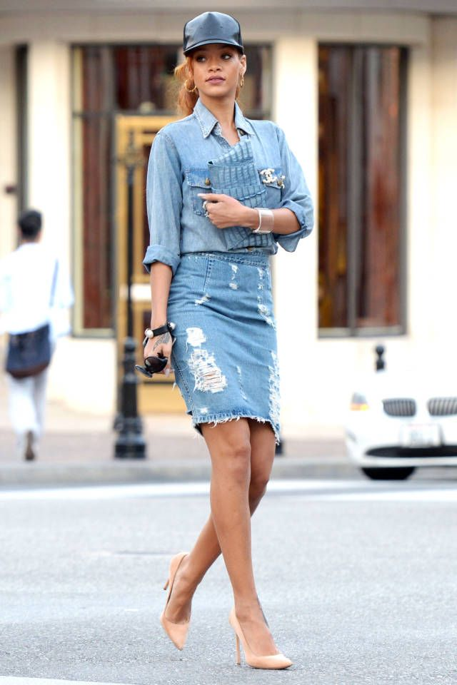 20 best jeans pencil skirt images on Pinterest