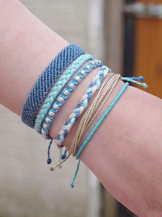 Blaues Armband-Set, Freundschaftsarmbänder, verstellbares Armband, Yoga-Armband…