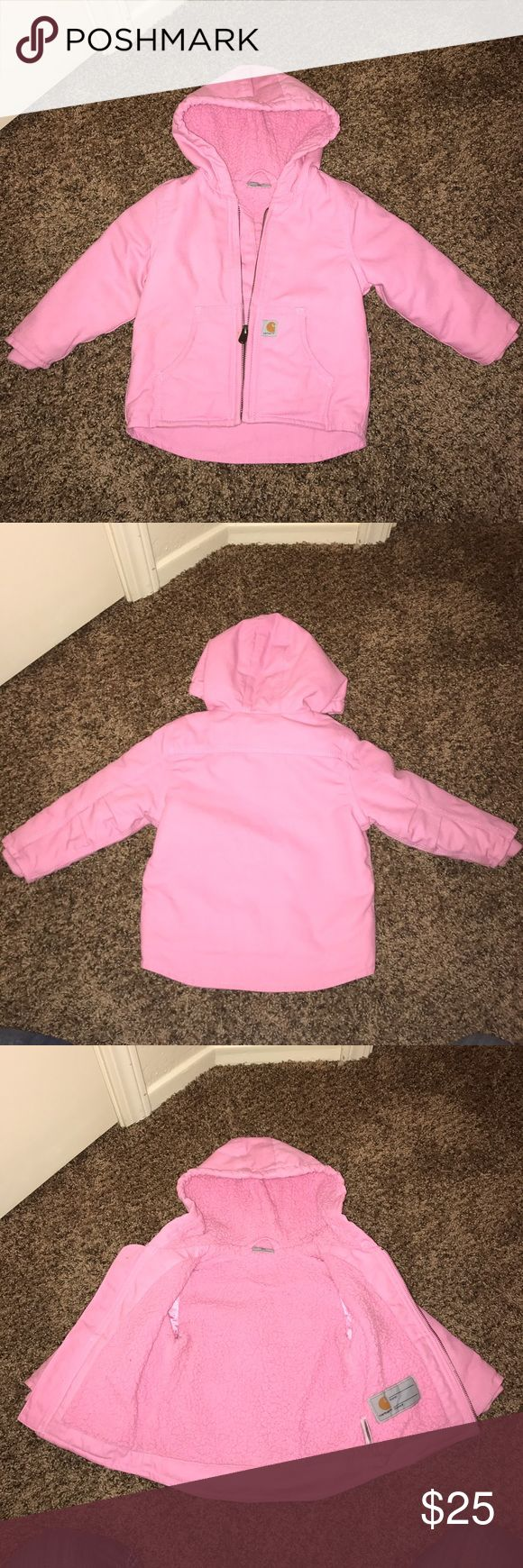 ❄️Carhartt Winter Coat❄️ Pink Carhartt winter coat 18 months, runs large. Last two pictures show very small spots, otherwise great condition. Carhartt Jackets & Coats