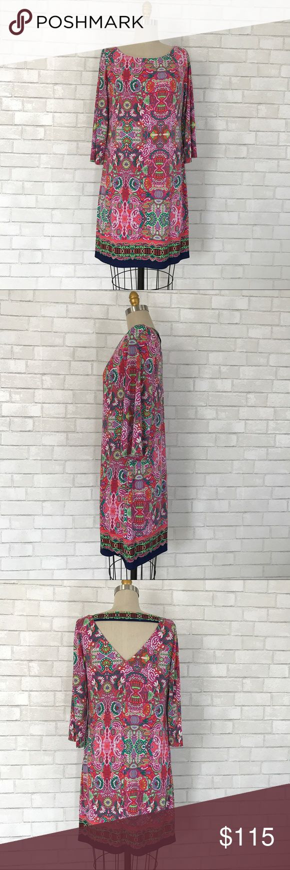 Laundry printed dress size M Stunning Printed Laundry dress  Size M, 95% Polyester 5%Spandex, full under lining, cut out back, no zipper pull on 3/4 sleeves   Ⓜ️Chest 38 Ⓜ️Length 36 Ⓜ️Sleeves 18  ✅Bundle and save  ✅🚭 🚫No Trading 🙅🏻 Poshmark rules only‼️ Laundry by Shelli Segal Dresses