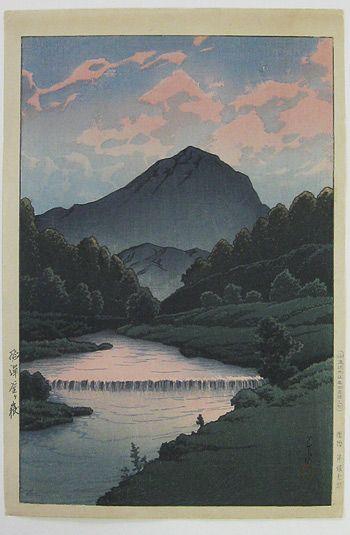 Japanese Art by the artist Kawase Hasui   Scriptum --Mount Kagama, Hida
