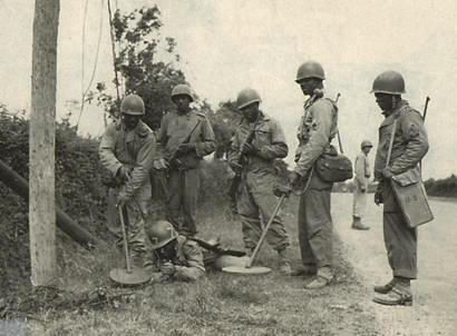 Red Ball Express Soldiers clearing mines in France. Source: US Army Transportation Museum.