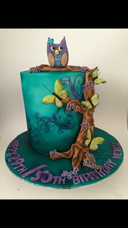#cakealicious #owlcake #airbrushedcake #50thcake #owls #girlsbirthdaycake