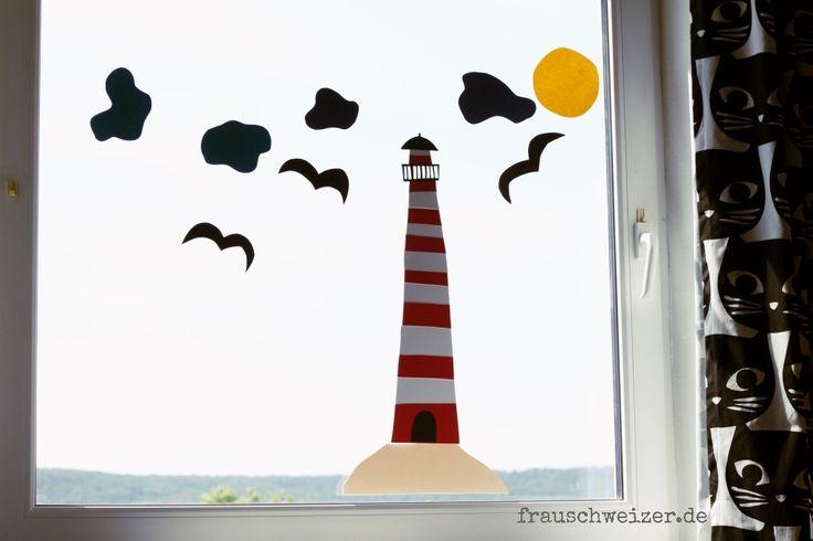 Lust die Fenster der Kinderzimmer aufzuhübschen? Hier eine DIY Anleitung wie ihr ganz schnell Fietes Leuchtturm nachbasteln könnt! Kann jeder- versprochen!