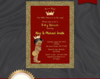 Red and Gold Royal Baby Shower Invitation by ADTRCustomDesigns