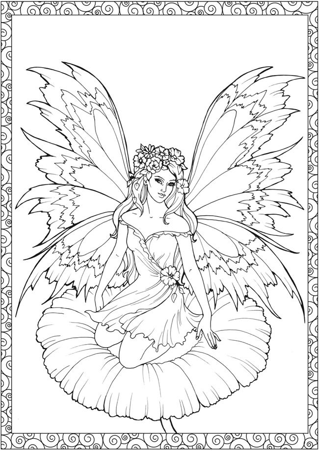 Coloring Pages for Adults to Print Out | ... » For Girls » Printable beautiful Fairy on Water coloring in pages
