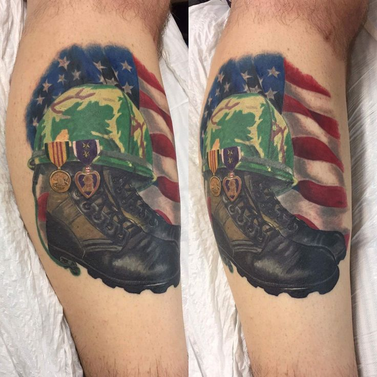 This is a tribute to my dad who passed away in October 2016. He was a Vietnam Vet with 3 Purple Hearts.  #Tattoo #Tattoos #Military #Vietnam #Americanflag #Army #PurpleHeart