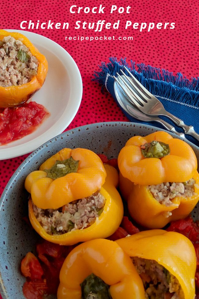 Slow Cooker Chicken Stuffed Bell Peppers Recipe In 2020 Stuffed Peppers Slow Cooker Chicken Slow Cooker Stuffed Peppers