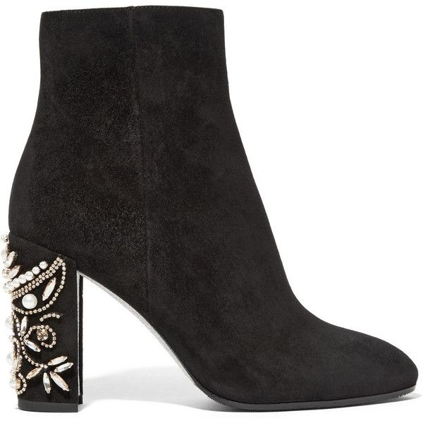 René Caovilla Embellished suede ankle boots (797.885 CLP) ❤ liked on Polyvore featuring shoes, boots, ankle booties, black, sapatos, high heel booties, short black boots, ankle boots, black suede boots and black bootie