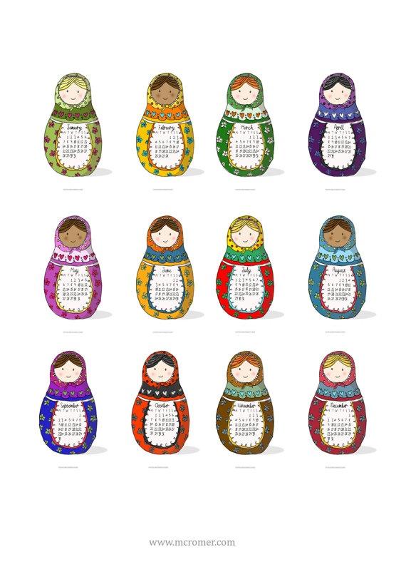 2013 Printable PDF Russian Dolls Calendar Babushka Matryoshka
