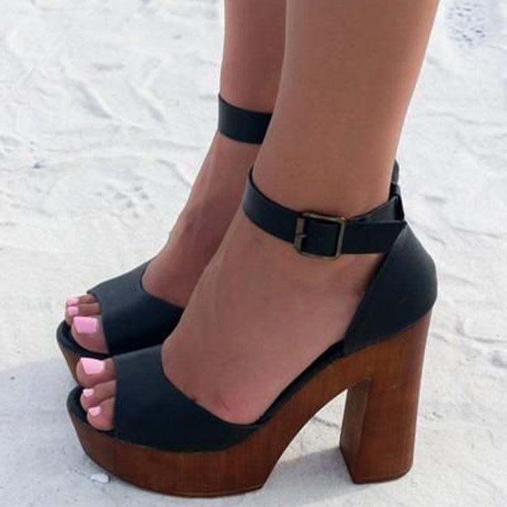 Black Wooden Platform Heel Sandals In 2019 Elegant