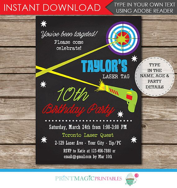 Laser Tag Party Invitation - 5x7 Invitation - Editable Text - Just type over my sample text with your own! Download right away and personalize the invitation yourself at home on your desktop or laptop using the latest version of Adobe Reader. Adobe Reader is a free program available for download at www.get.adobe.com/reader. You just type over all of my sample text with your own text. Then print at home or at a print shop. If interested in matching printable thank you tags & decorat...