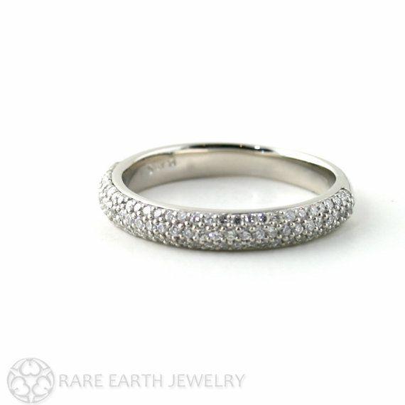 Palladium Diamond Ring Pave Diamond Wedding Ring Stackable Ring Anniversary Band Custom Wedding Band on Etsy, $1,151.00