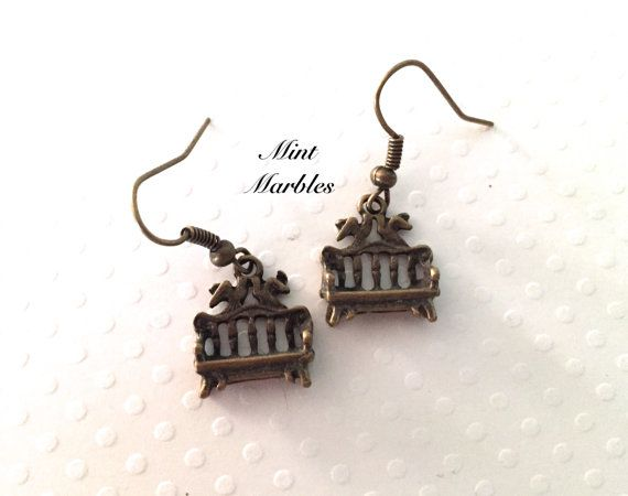 The Smallest Bench Earrings. Tiny Brass Benches. by MintMarbles