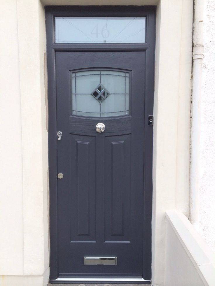 A popular design with our customers! The fabulous Anthracite Grey, Newark style, Rockdoor composite door with a modern, bespoke toplight installed by COVE Windows.  #Rockdoor #compositefrontdoor #anthracitegrey