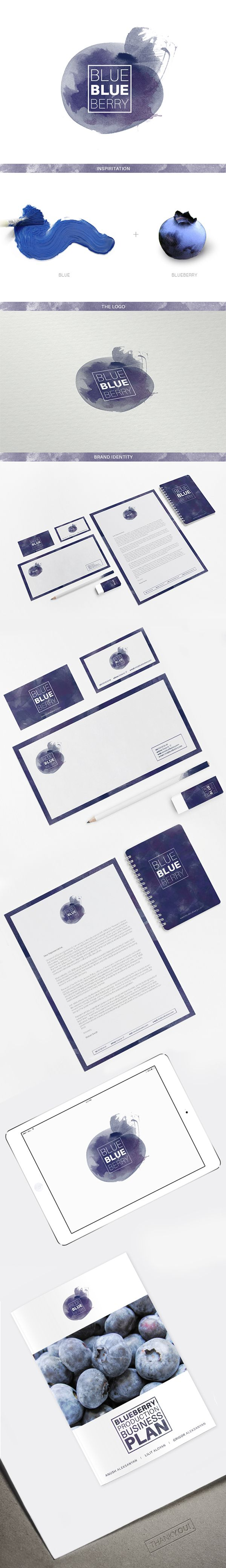 BlueBlueBerry / identity / branding / logo / stationary / fruit / restaurant / business card / inspiration / fun but still beautiful - love this design!
