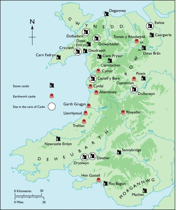 Wales (map of castles)