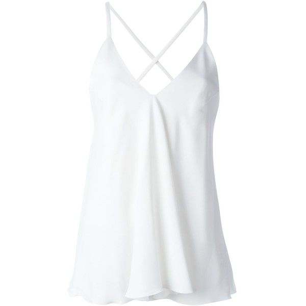 Dondup Noelie Cami Top ($226) ❤ liked on Polyvore featuring tops, shirts, white, camisole tank, white cami tank top, dondup, white tank top and cami top