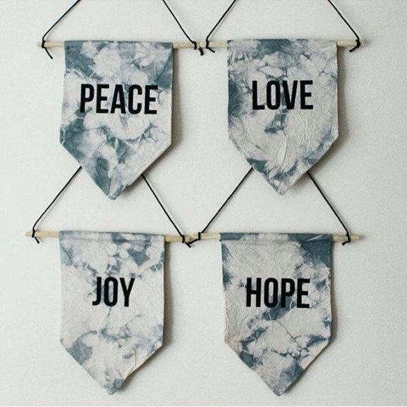 LOVE tie dye canvas wall hanging.