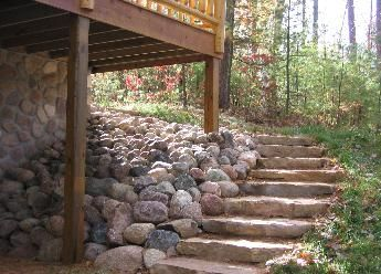 Stone Steps On A Slope | block natural field stone or cut wall stone provides a more aesthetic ...