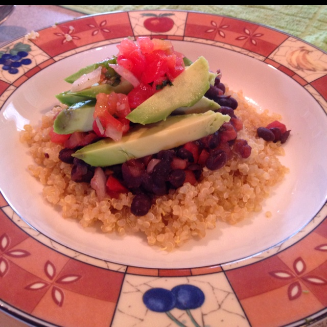 ... : Quinoa, topped with black beans, avocado, and pico de gallo. Yummy