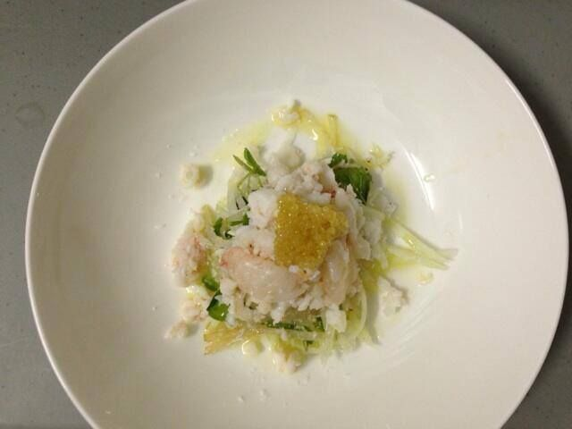 Spanner Crab salad and our Lime Caviar.