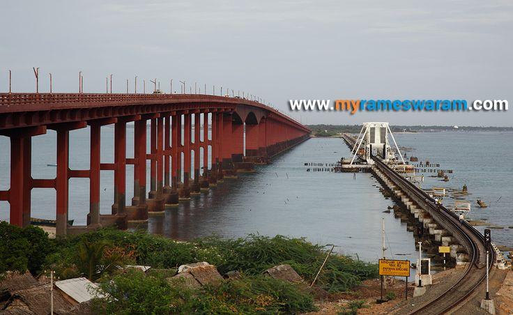 Pamban Bridge (Road & Train bridge) - Largest bridge in india. For more details click,  http://myrameswaram.com/pamban-bridge
