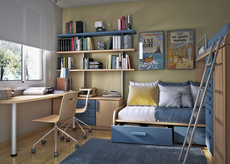 small-bedroom-furniture-ideas-also-awesome-bookshelves-design-plus-simple-workspace-with-swivel-side-chair-and-storage-idea-also-blue-color-interior-decorating
