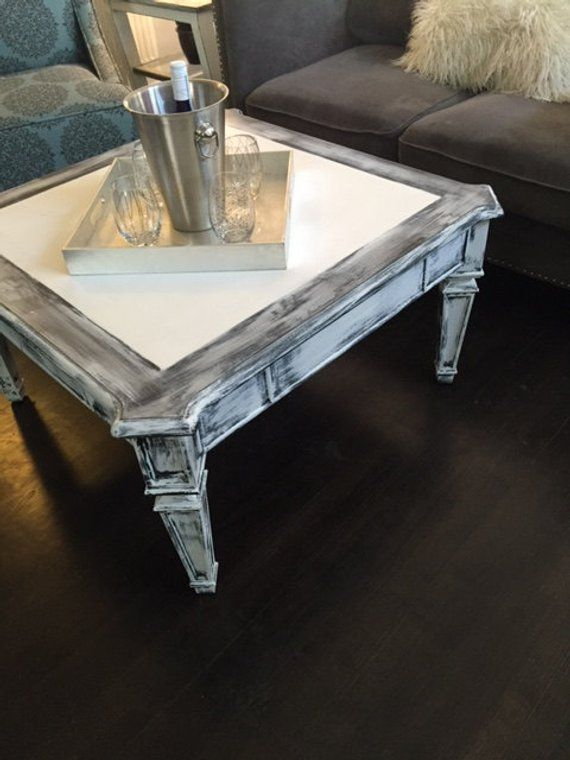 Distressed Gray Coffee Table.Distressed White Grey Black Coffee Table Farm House Coffee Table